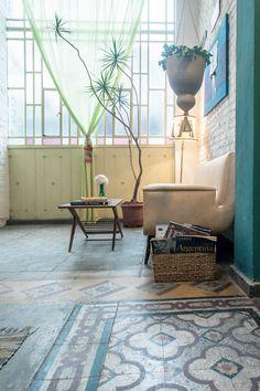 Original Tile Floors of The Terrace. San Telmo Loft Vacation Rentals in Buenos Aires.