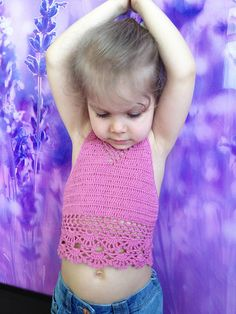 Items similar to Pink Crochet Toddler Crop Top/ Bohemian crochet top/ Baby top/ Open back crochet top/ Music festival halter top/ Crochet top on Etsy Cute Little Girls, Cute Kids, Baby Girls, Love Crochet, Crochet Top, Toddler Outfits, Girl Outfits, Loom Scarf, Crochet Toddler