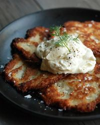 Killer Potato Latkes | Andrew Zimmern makes his latkes with both boiled and grated raw potatoes to add both creaminess and crispiness.