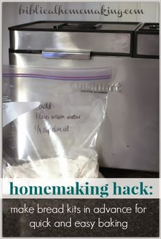 "This bread is the best recipe I've made and WITHOUT the bread maker! - Biblical Homemaking: homemaking hack: bread kits ""from scratch"" Quick Bread, How To Make Bread, Bread Maker Recipes, Pastry Recipes, Life Hacks, Our Daily Bread, Wrap Recipes, Bread Rolls, Bread Baking"