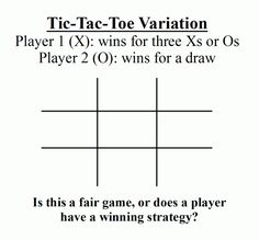 In standard tic-tac-toe, player one (X) and player two (O) are each trying to make 3 in a row. If both play optimally, the game ends in a draw. Now consider a variation: player one wins if either X… Player One, Fair Games, Game Theory, Literacy Skills, Tic Tac Toe, Draw, Ties, Tie Dye Outfits, To Draw