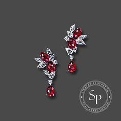 A pair of exquisite burmese ruby earrings, design for Dehres #SPjoaillerie #hautejoaillerie #sketch #ruby #diamonds #jewelrydesign #jewelrydesigner #artist #jewelryrendering #dehres #bangkok