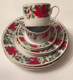GIBSON POINSETTIA BLOOM~9 REPLACEMENT PIECES of PLATES,CUPS, SAUCERS #GIBSON