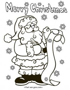 Christmas Coloring Pages | Free printable, Free and Santa