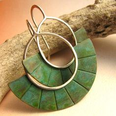 Verdigris Mixed Metal Earrings Brass And Sterling Silver