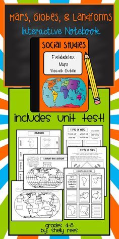 Maps, Continents, Oceans, Landforms: Social Studies Interactive Notebook - LOVE this packet!  Includes foldables, guide sheets,  and unit test.  Fun for students, easy for teachers to use, and meaningful to instruction!