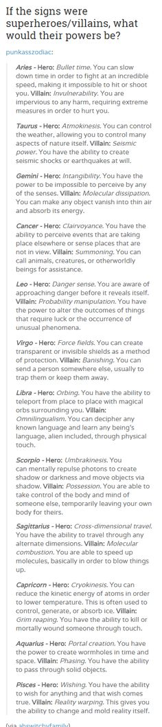 your zodiac sign as|| As a Sagittarius I am happy to be a villain and blow things up.