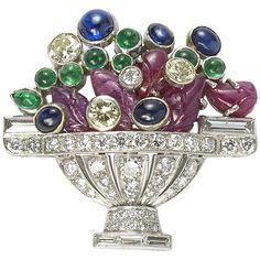 1960s Sapphire Emerald Ruby Diamond Platinum Jardiniére Brooch  1