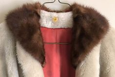 Vintage 50s 60s faux fur swing coat w/real mink detachable fur collar Lined