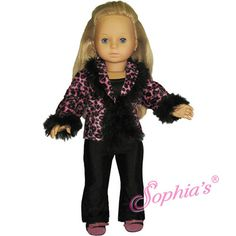 Hot Pink Animal Print Jacket & BlackDress Pants Outfit fits 18 inch Girl New