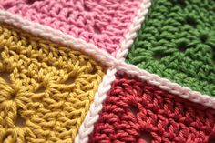 How to join grannies with a single crochet: Tutorial from Cherry Heart