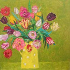 Andrea Letterie, Tulpen in gele kan, Gemengde techniek op hout, 60x60 cm, €.850,-