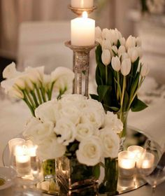 White on white with candles are perfect Southern charm