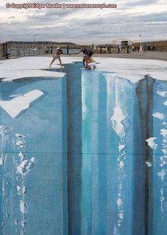 3D sidewalk art of Edgar Mueller