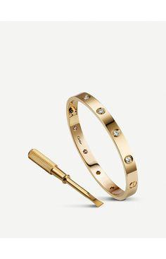 Cartier Love yellow-gold and diamond bracelet Cartier Love Bracelet Diamond, Diamond Bracelets, Love Bracelets, Sterling Silver Bracelets, Jewelry Bracelets, Bangles, Jewellery, Cartier Jewelry, Ankle Bracelets