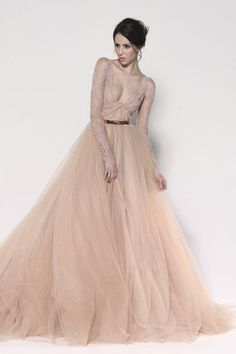 Paolo Sebastian Winter 2013 Collection. Beaded French chantilly lace with knot detail falling into a skirt of hand beaded rose tulle with a silk organza underlay.