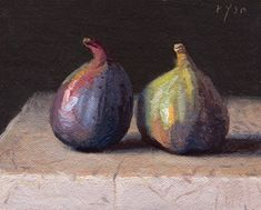 """Daily Paintworks - """"Still Life with Two Figs on Marble (the light / the shade)"""" - Original Fine Art for Sale - © Abbey Ryan Low Key Lighting, Dutch Golden Age, Chiaroscuro, Still Life Photography, Fine Art Gallery, Art For Sale, Be Still, Art Projects, Original Paintings"""