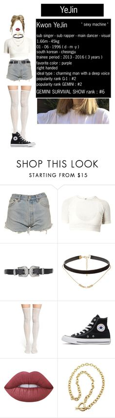 """""""[ GEMINI official YouTube channel ] YeJin's trailer"""" by xxeucliffexx ❤ liked on Polyvore featuring Levi's, Topshop, Jules Smith, Lemon, Converse, Lime Crime, Tiffany & Co., Forever 21, gemini and yejin"""