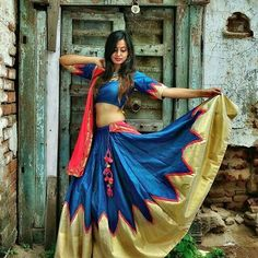 Blue & Red Silk Solid Brocade Chaniya Choli    #Blue, #Red, #ChaniyaCholi, #Brocade, #Garba, #Navratri
