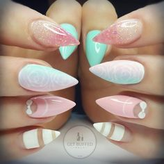 Pastel Pink and Tiffany Blue Negative Space Stiletto Nails
