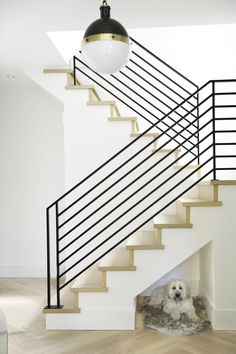 Jillian Harris Update on Kenny and Michelle Gemmills Home Renovation - Modern Stair Case - Dog Nook in Stairs - Modern Farmhouse Stairs - Black Stair Railing Black Stair Railing, Stair Railing Design, Metal Stairs, Staircase Railings, Stairways, Painted Stairs, Banisters, Staircase Ideas, Spiral Staircases