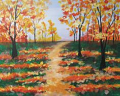 """Social Artworking Canvas Painting Design - Autumn Path:  The leaves along this path will crinkle underfoot as you stroll along during a crisp autumn afternoon. The colors capture the vibrancy of fall and can easily be switched out to represent any of the seasons.  CANVAS SIZE:  16"""" x 20""""  TIME TO PAINT:  approximately 2 hours"""