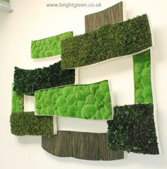 Bespoke Metal panel sections made in different shapes and sizes filled with Preserved Bun Moss, Preserved Mash Reed, Preserved Hedera Leaves and Pitisporum Leaves. Any Shape or Size possible