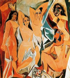 The girls of Avignon  Les Demoiselles d'Avignon     Artist: Pablo Picasso  Completion Date: 1907  Style: Cubism  Period: Cubist Period  Genre: nude painting (nu)  Technique: oil  Material: canvas  Dimensions: 243.9 x 233.7 cm  Gallery: Museum of Modern Art, New York, USA