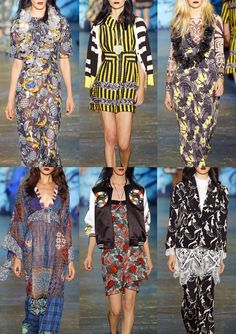 Anna Sui S/S16 - Tropical Pineapple Prints – Bold Stripes – Simplistic Flower Shapes  – Black and White Tribal – Ethnic Pattern Mixes – Outlined Florals – Hawaiian Florals
