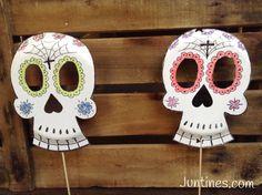 Calavera mexicana - Mexican skull.   Manualidades de Halloween, manualidades de papel. Caretas de papel de haloween, halloween masks