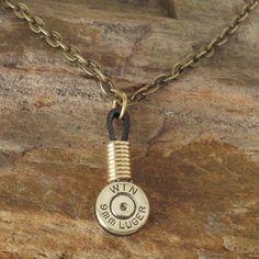 9mm Shell Casing Necklace Single Winchester by ShellsNStuff... @Kirsten Villegas