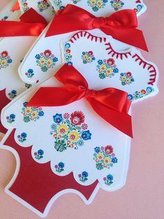 Baby shower invitesHey, Etsy listing at https://www.etsy.com/listing/204467085/25-fiesta-dress-invitations-with-flower