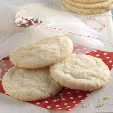 SUGAR COOKIES:   Dough 									3 cups King Arthur Unbleached All-Purpose Flour1 teaspoon baking powder1/4 teaspoon baking soda3/4 teaspoon salt1 cup (2 sticks)..unsalted butter 1 1/4 cups sugar 1/4 cup cream cheese* 1 teaspoon vanilla extract 1/4 teaspoon almond extract 1 large egg *Adding cream cheese will yield a puffy, cake-like cookie; for flatter/crunchier cookies, leave it out