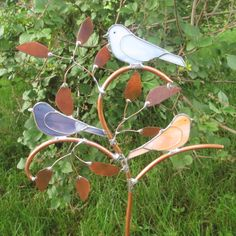 Colorful Birds on a Branch Stained Glass Garden by FiveSparrows, $50.00