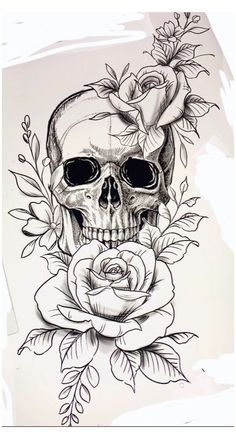Arm Tattoos Skulls, Pretty Skull Tattoos, Feminine Skull Tattoos, Floral Skull Tattoos, Skull Tattoo Flowers, Cute Tattoos, Flower Skull, Rose Tattoo On Thigh, Girl Thigh Tattoos
