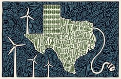 Sarah King's typographic illustrations blow my mind. Sarah King, Texas Monthly, Energy Industry, Oil And Gas, Green Building, Renewable Energy, Geology, Unity, Typography
