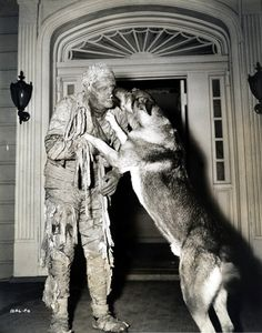 Lon Chaney, Jr. always took his dog with him to the set. Such a large, cute dog, and it still seems to recognize him!