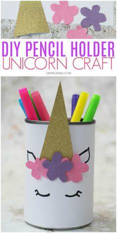 DIY Unicorn Pencil Holder - Kids event - unicorn crafts for kids DIY pencil holder easy - Easy Arts And Crafts, Crafts For Girls, Easy Diy Crafts, Diy For Kids, Fun Crafts, Creative Ideas For Kids, Decor Crafts, Little Girl Crafts, Diy Crafts For Kids Easy