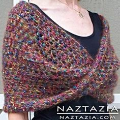 How to Crochet the Mobius Shawl Wrap - Naztazia - - The crochet mobius shawl wrap is soft, comfortable, and easy to make! The twist in the middle of the shawl pattern adds interest to the piece! Crochet Shawls And Wraps, Crochet Poncho, Knitted Shawls, Crochet Scarves, Crochet Clothes, Easy Crochet, Free Crochet, Crochet Capelet Pattern, Crochet Vests