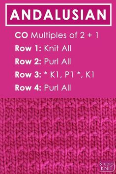 Crochet Stitches Patterns Andalusian Knit Stitch Pattern Free Instructions by Studio Knit with Video Tutorial Loom Knitting Stitches, Dishcloth Knitting Patterns, Easy Knitting, Knitting Needles, Knitting Yarn, Cowl Patterns, Easy Patterns, Vogue Knitting, Crochet Afghans