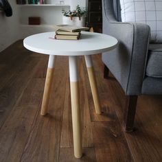 Image result for side table white wood dipped legs