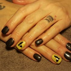 Nails black yellow boy heart love balloon