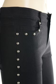 BUS STOP BIG STUD bootcut housut *3111 | Black | Studs | Alternative | Plussize |