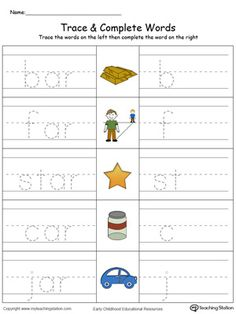**FREE** AR Word Family Trace and Write in Color Worksheet.Topics: Word Families, and Reading. Handwriting Worksheets For Kids, Writing Practice Worksheets, Family Worksheet, Spelling Worksheets, Printable Preschool Worksheets, English Worksheets For Kids, Kindergarten Math Worksheets, Kindergarten Lessons, Printables