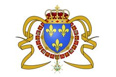Great Seal of King Louis XIV and flag of the Viceroyalty of New France (America) 1663-1763