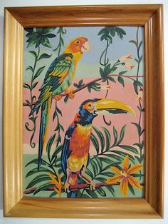 paint by number tropical birds Sand Painting, Love Painting, Paint By Number Vintage, Tropical Art, Tropical Birds, Number Art, Drawing Projects, Painting Leather, Art Inspo