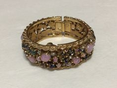 Royal Dynasty Watch 1967 Jeweled Art Glass Hinged Bangle Bracelet by NOTABOUTNEED on Etsy