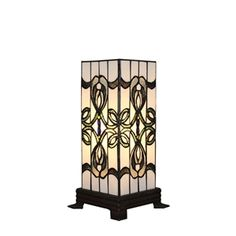 6inch European Pastoral Retro Style Table Lamp Colorful Pattern Square Prism Lamp Shade Bedroom Living Room Dining Room Lights