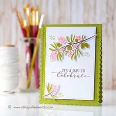 PTI Beautiful Berries stamps and dies. Birthday card by Wanda Guess. March 2017 release week.