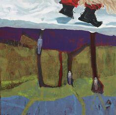"""EvaSchlitzer """"The spring knocks at the door"""", 80 x 80 cm, Acryl auf Leinen, Collage"""